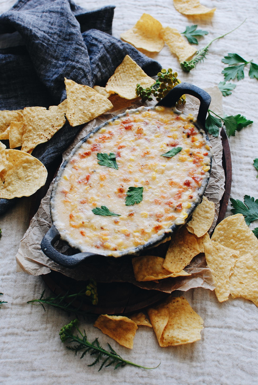 Skillet Cheesy Corn Dip / Bev Cooks
