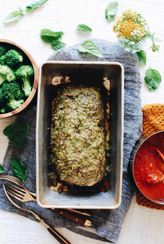 Turkey Pesto Meatloaf / Bev Cooks