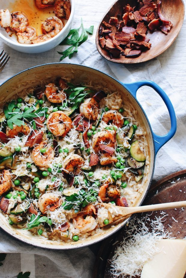 Risotto with Shrimp, Bacon and Zucchini / Bev Cooks