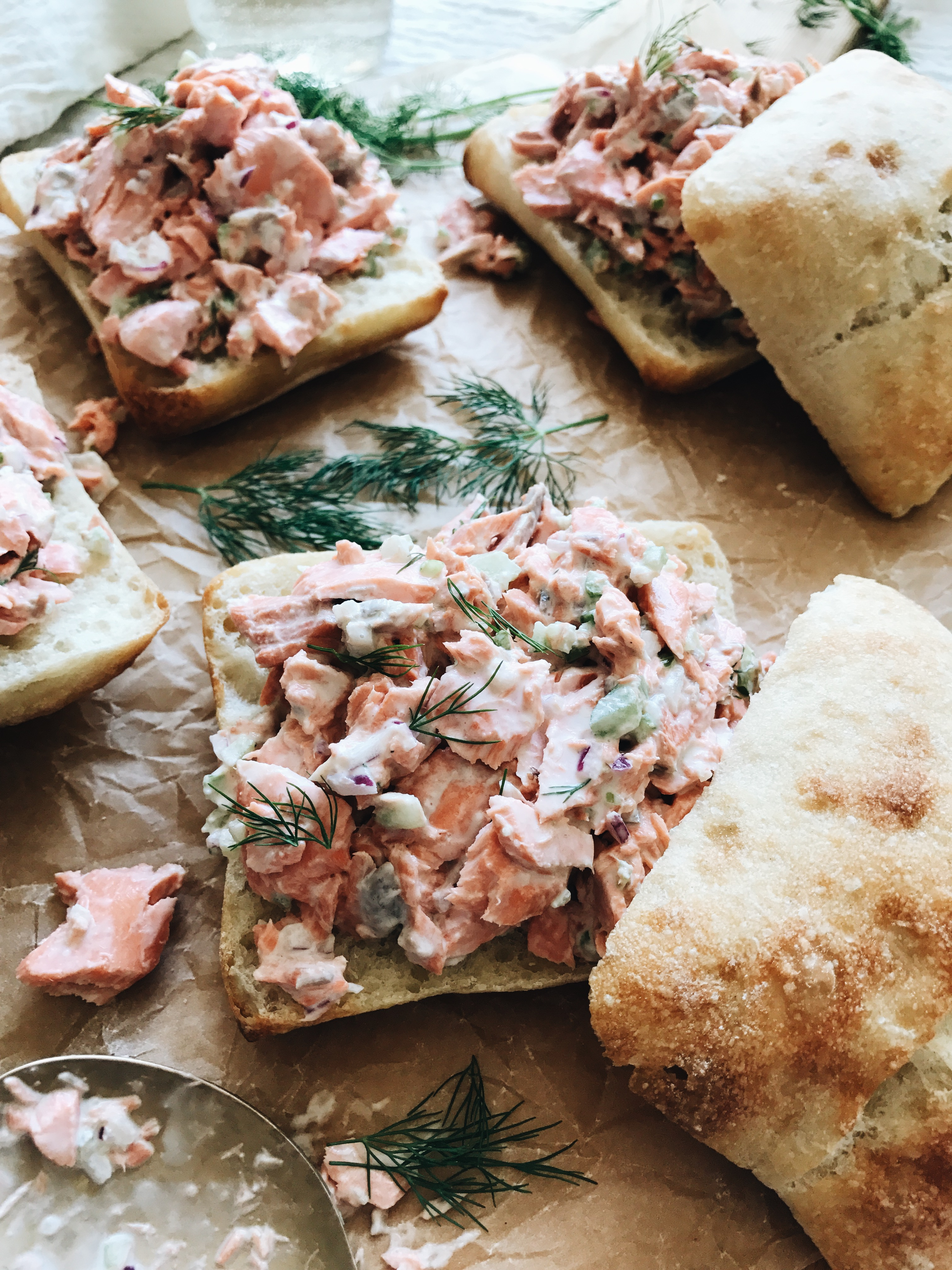 Poached Salmon Salad Sandwiches / Bev Cooks
