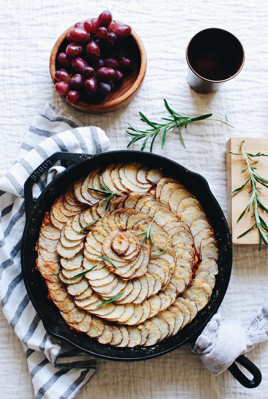 Skillet Chicken and Potato Pie / Bev Cooks