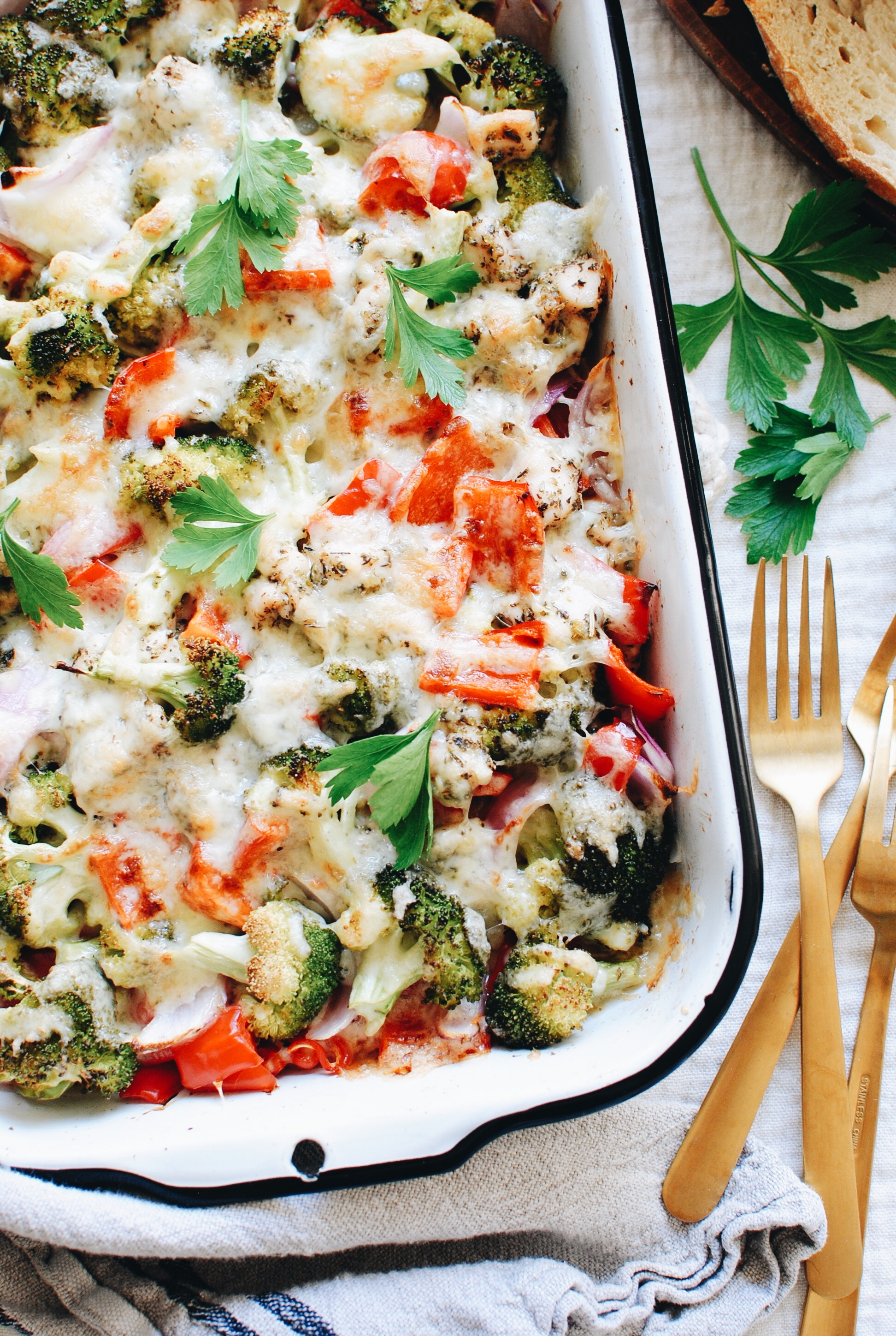 Cheesy Chicken and Veggie Bake / Bev Cooks