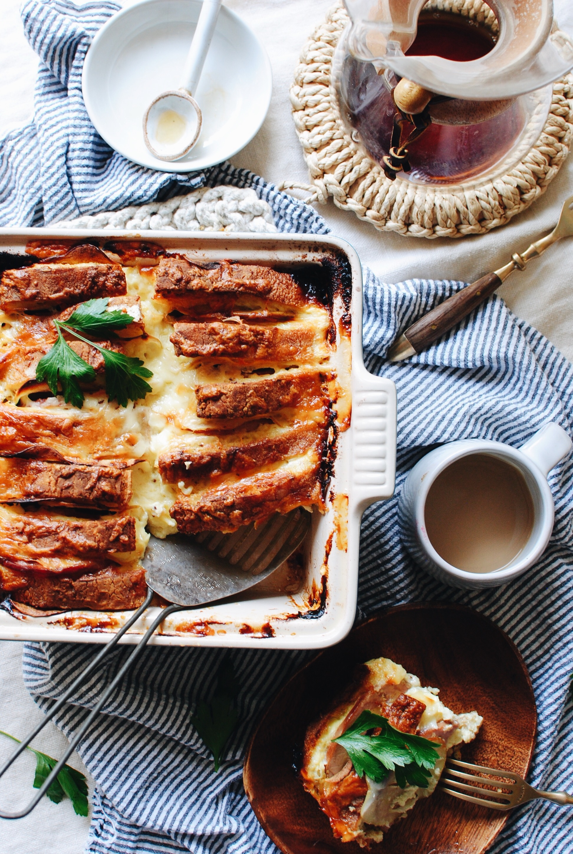 Breakfast Cheddar and Apple Strata / Bev Cooks