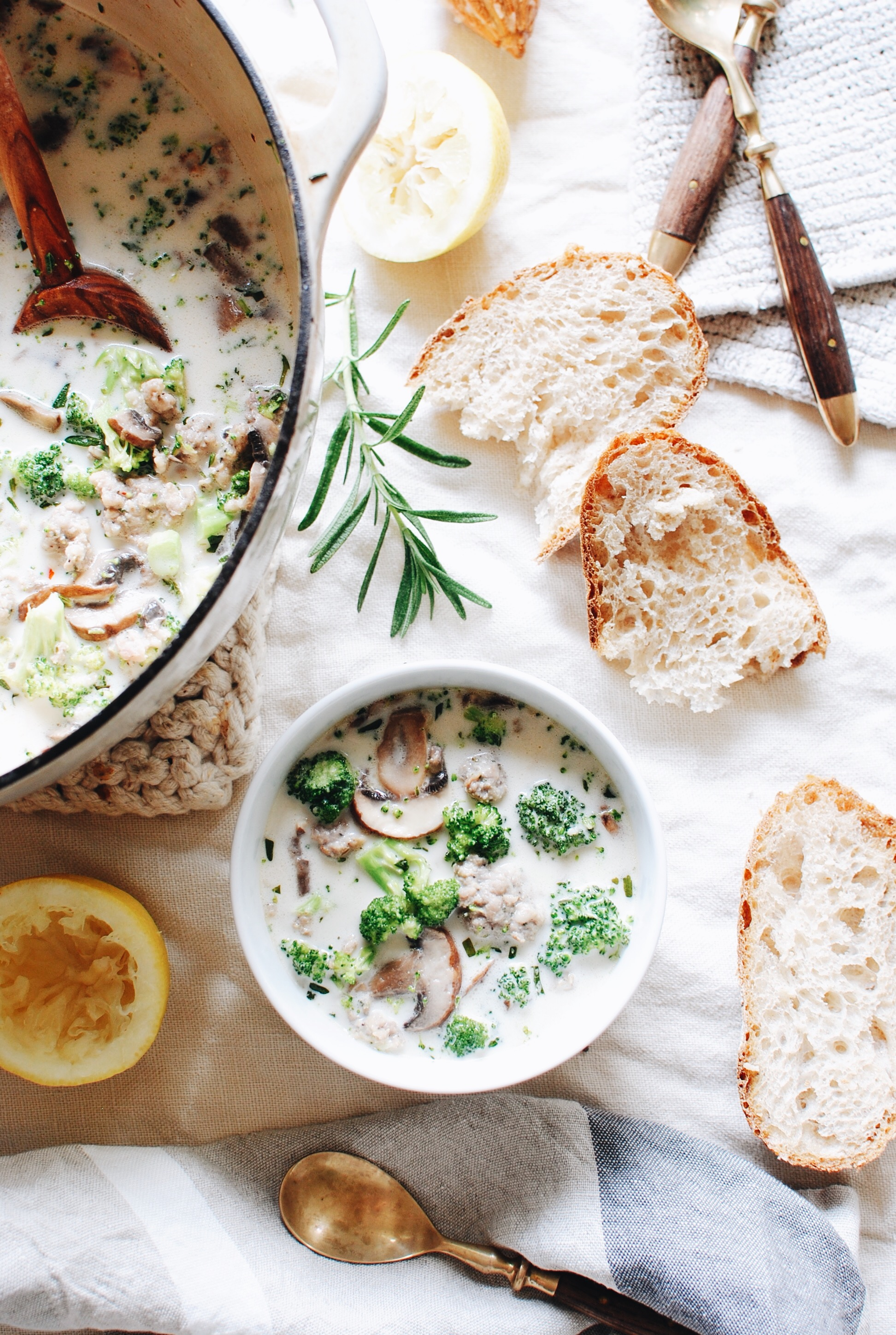 Creamy Sausage Soup with Broccoli and Mushrooms / Bev Cooks