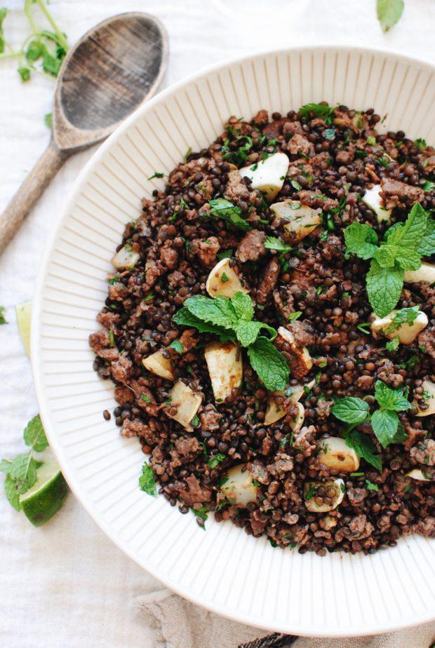 Spiced Pork with Black Lentils and Squash / Bev Cooks