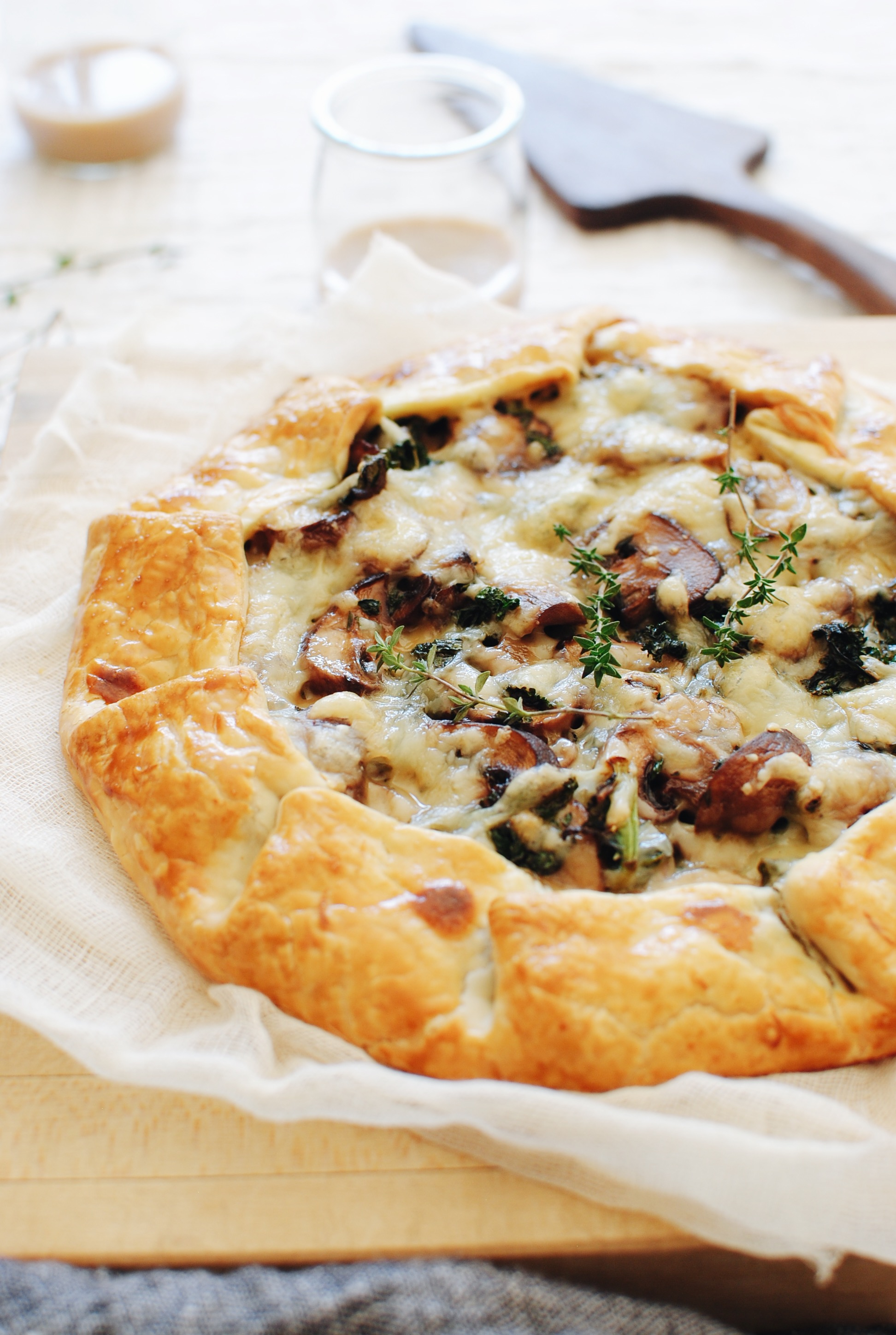 Savory Mushroom, Kale and Cheese Galette / Bev Cooks