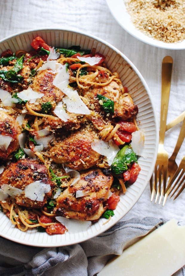Linguine with Chicken, Tomatos and Spinach / Bev Cooks