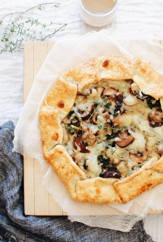 Savory Mushroom, Kale and Cheese Galette / Bev Cooks