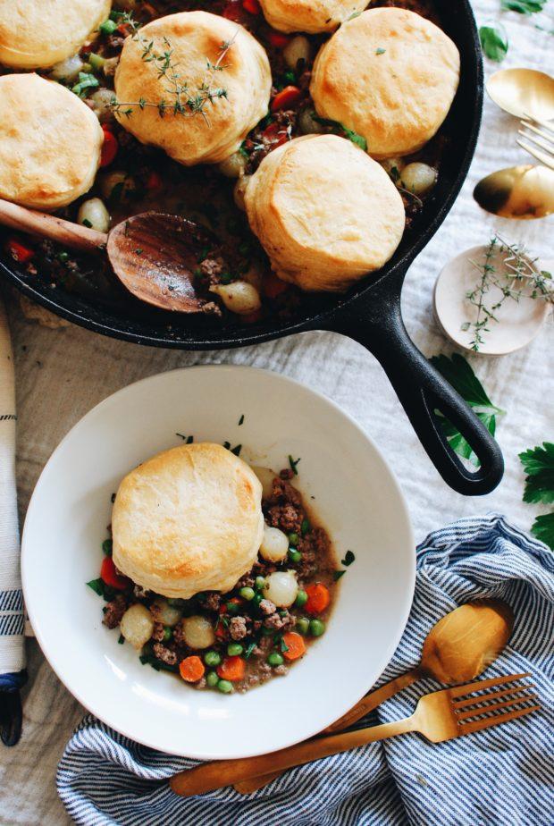 Skillet Beef and Biscuit Pot Pie / Bev Cooks