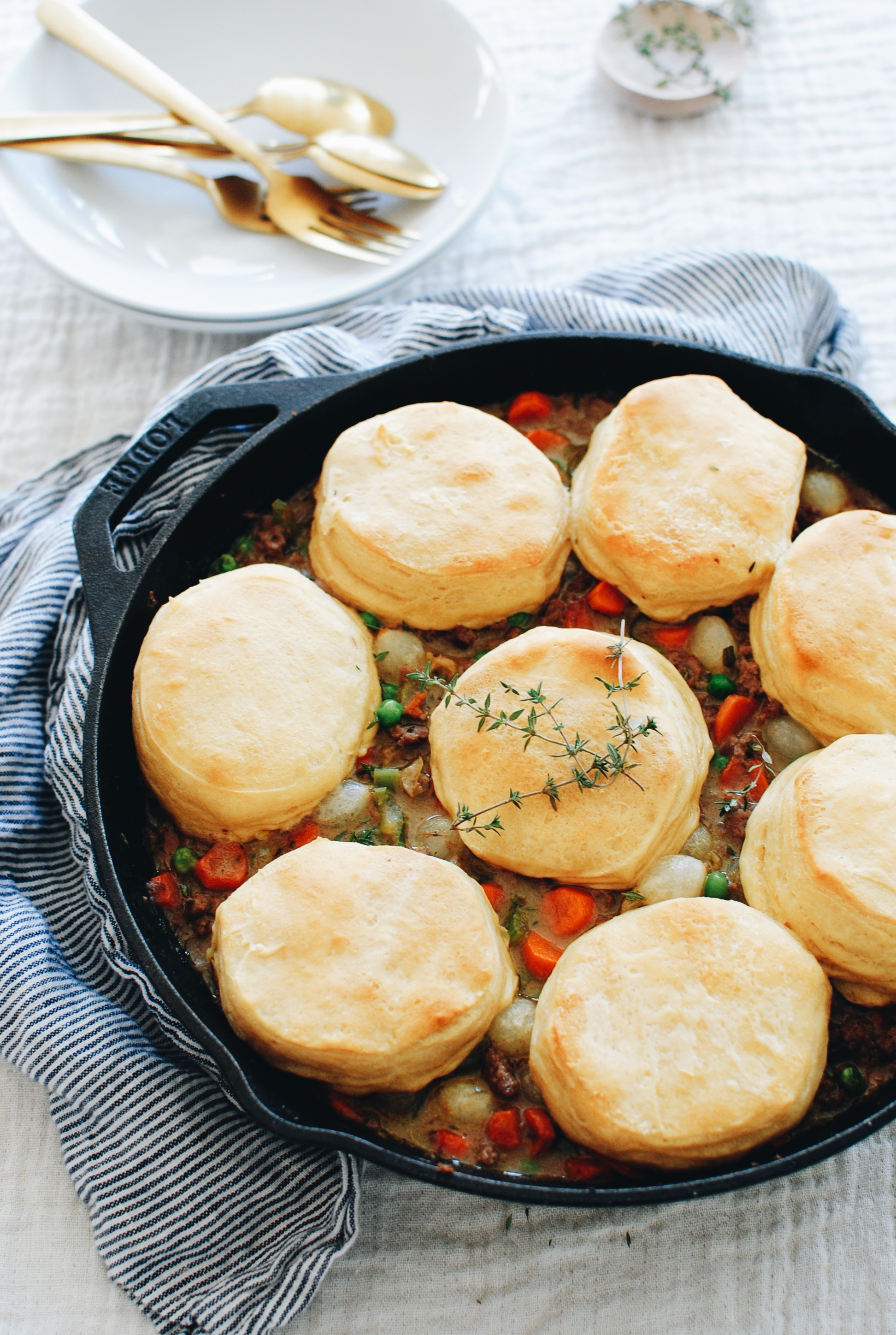 Skillet Beef and Biscuit Pot Pie / Bev Cooks