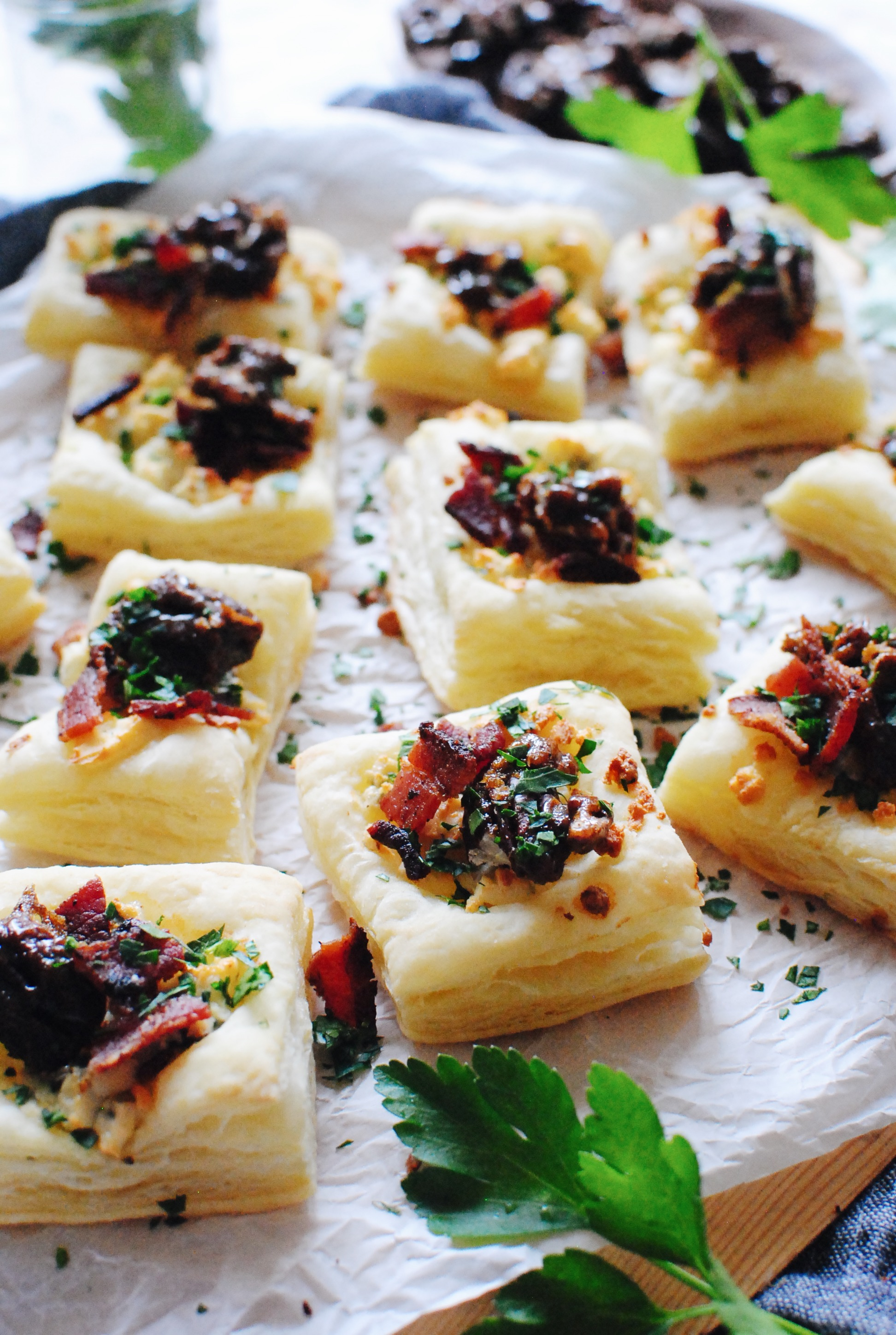Blue Cheese, Bacon and Candied Pecan Puff Pastries / Bev Cooks