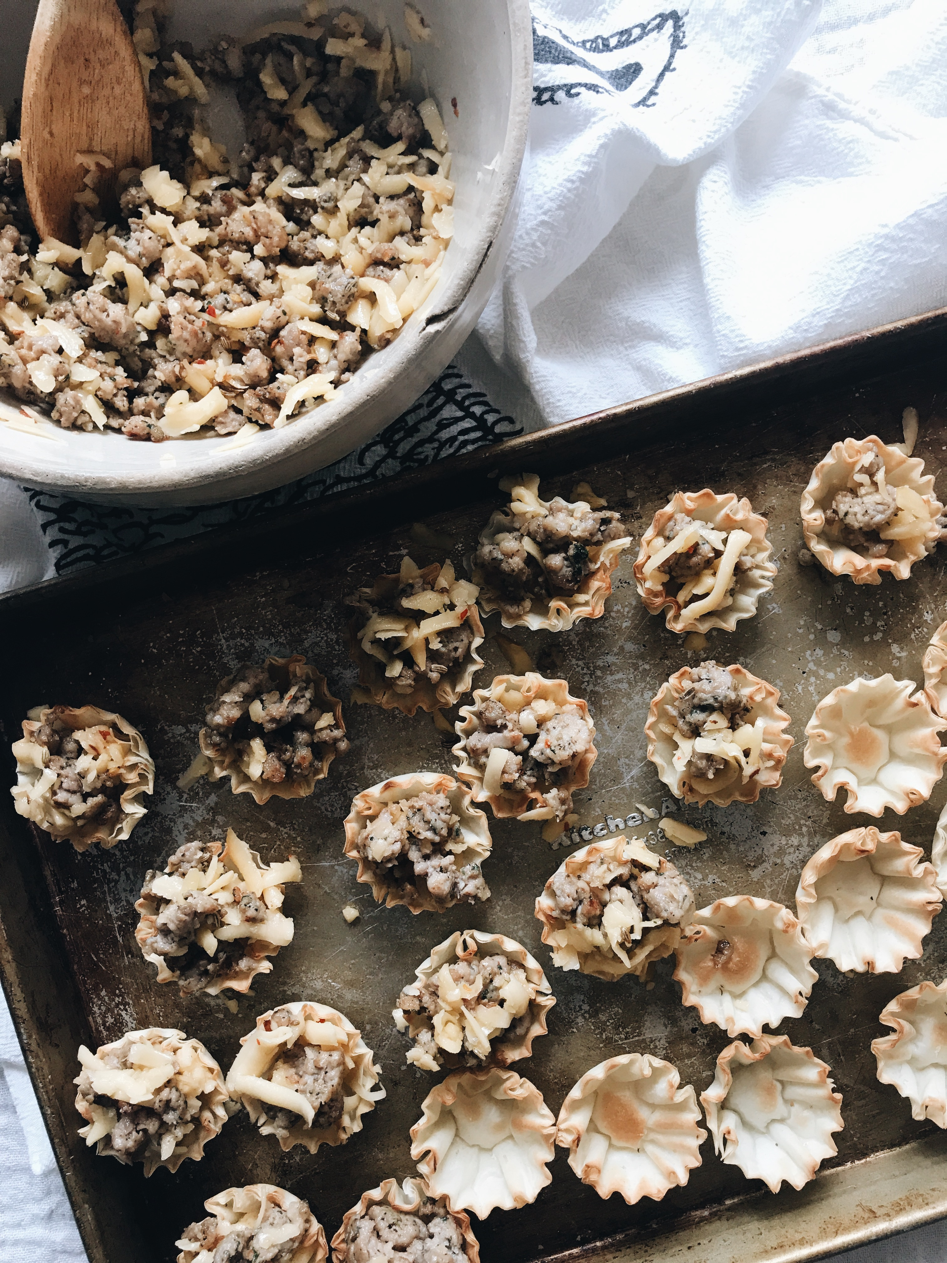 Sausage and Gouda Phyllo Cups / Bev Cooks