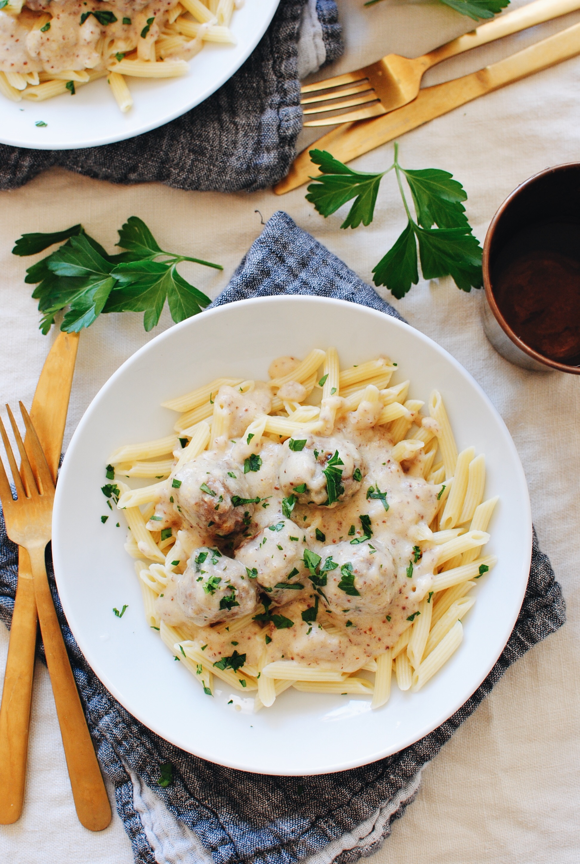 Pork Meatballs and Penne with a Creamy Mustard Butter Sauce / Bev Cooks