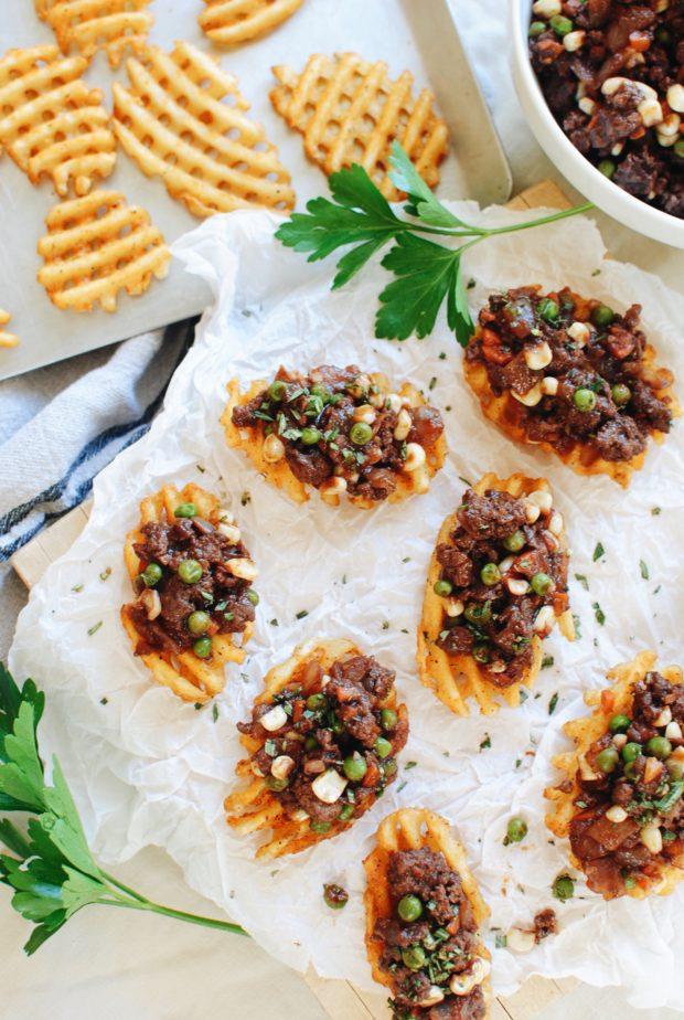 Shepherd's Pie Waffle Fry Stackers / Bev Cooks