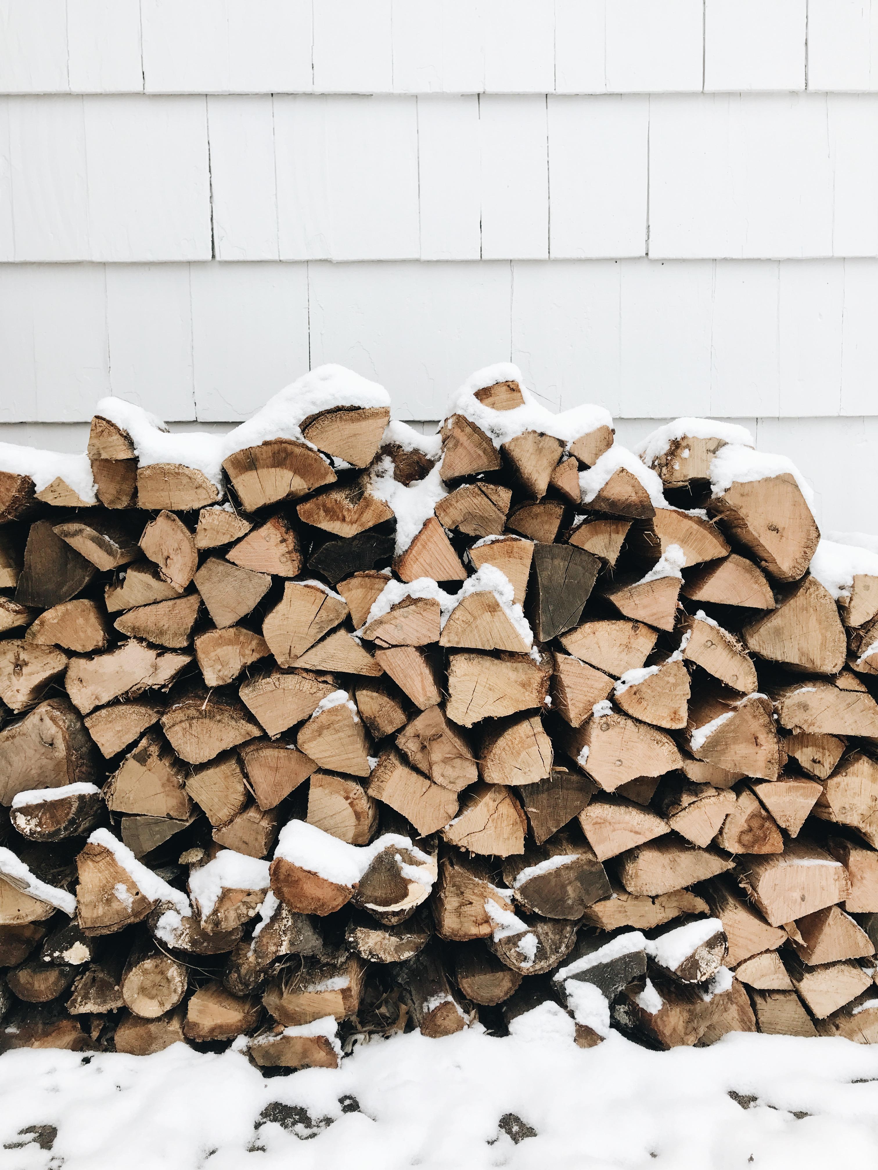 fire logs in the winter