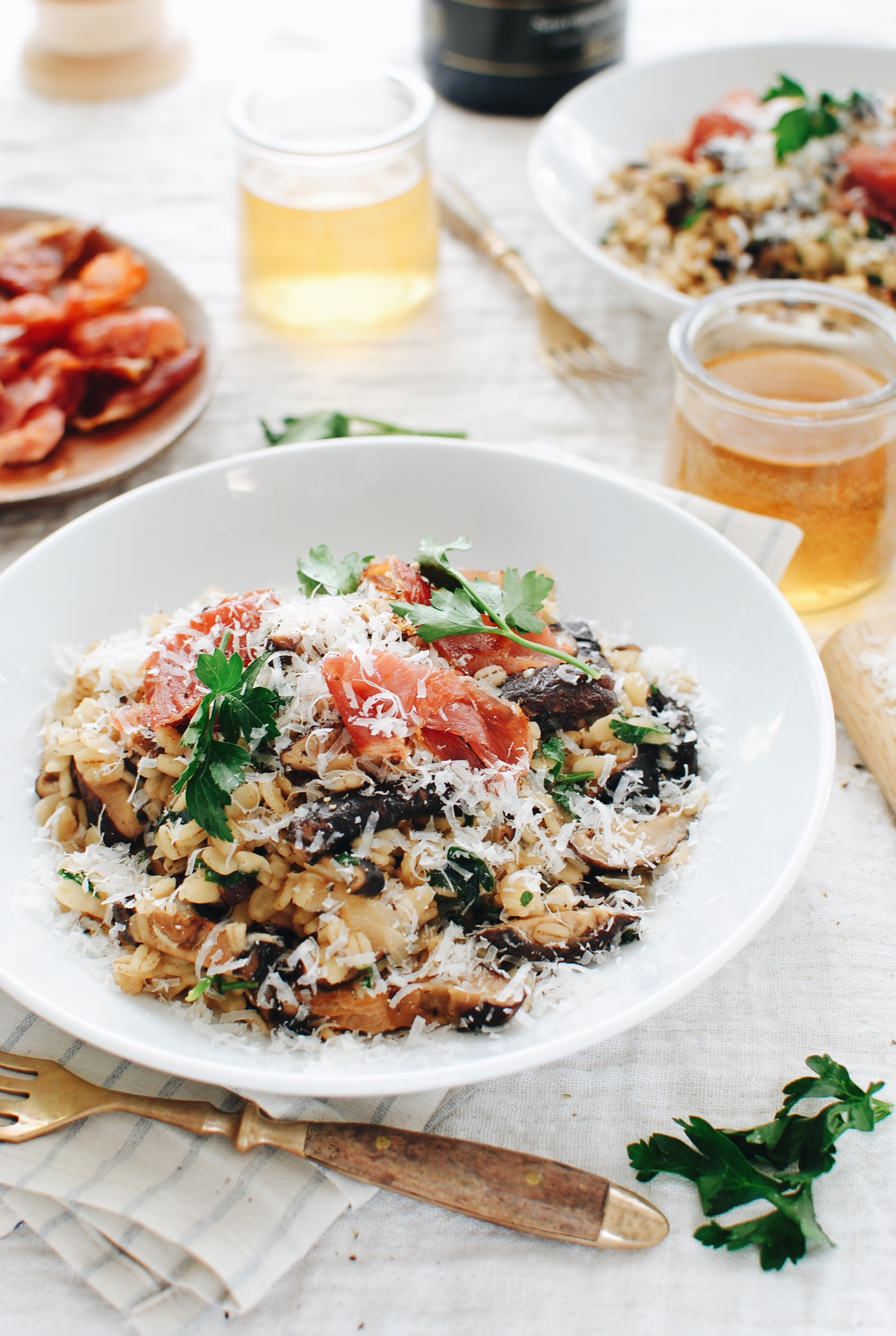 Mushroom and Barley Risotto / Bev Cooks