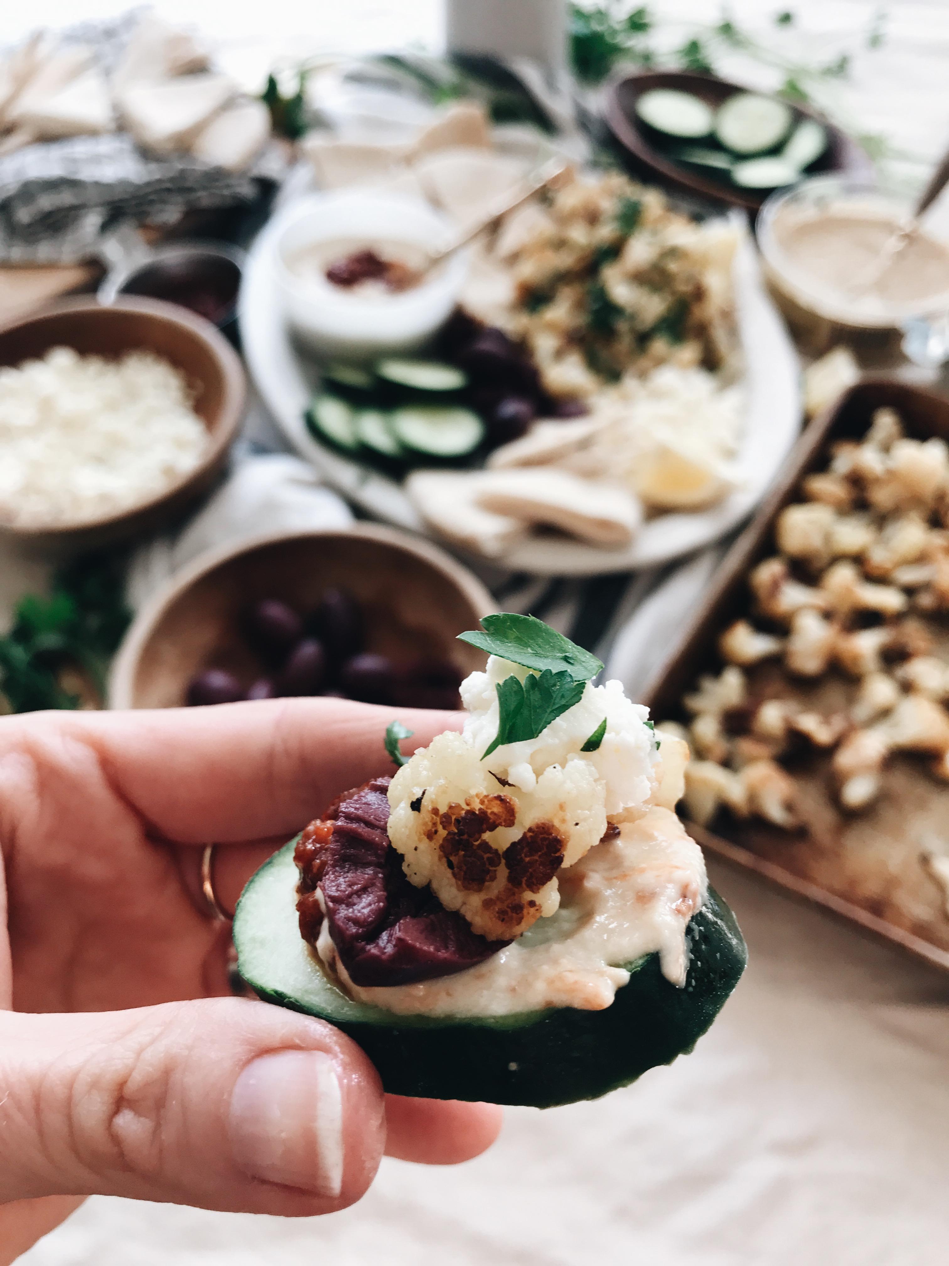 Quick Vegetarian Greek Platter / Bev Cooks