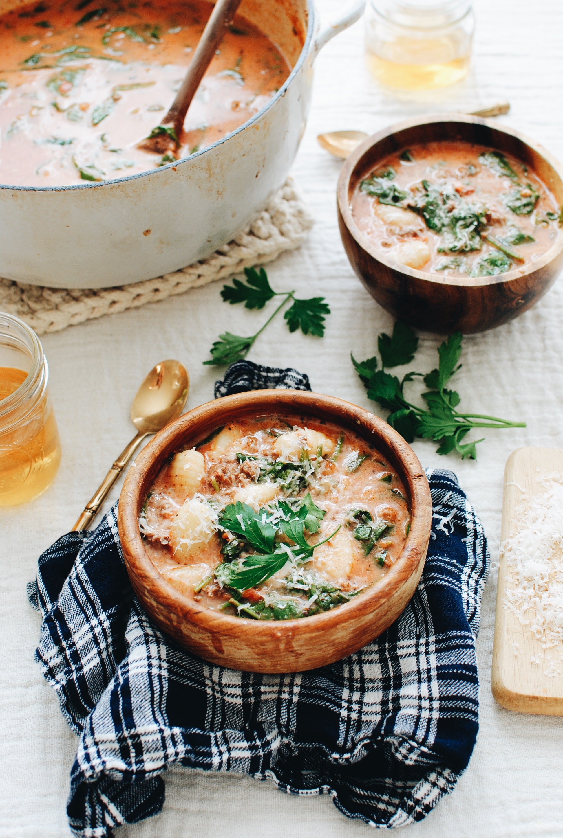 Creamy Beef and Gnocchi Soup / Bev Cooks