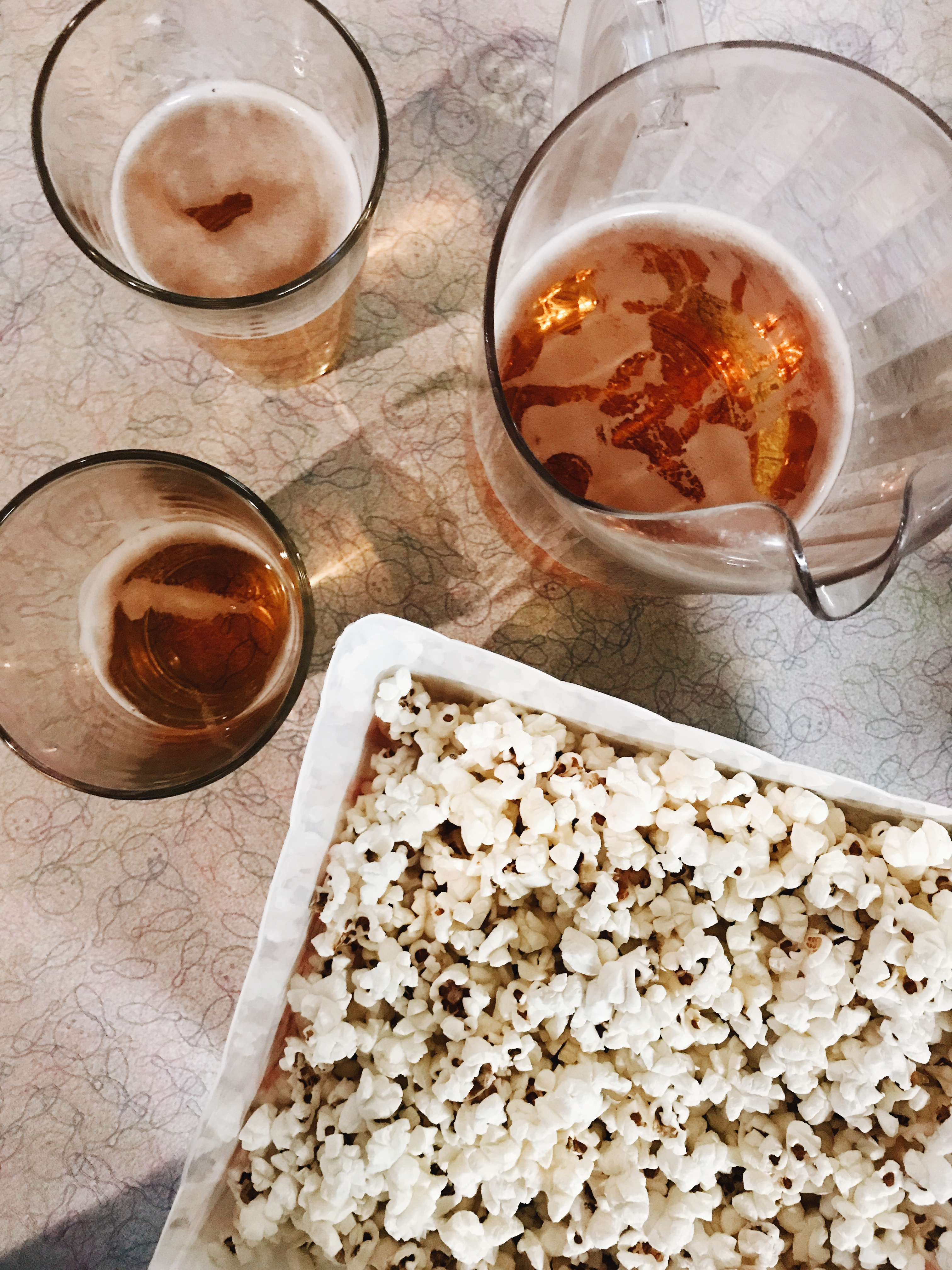 beers and popcorn