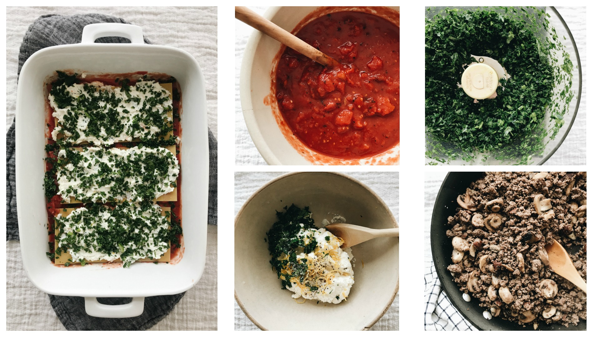 Grass-fed Beef, Kale and Mushroom Lasagna / Bev Cooks
