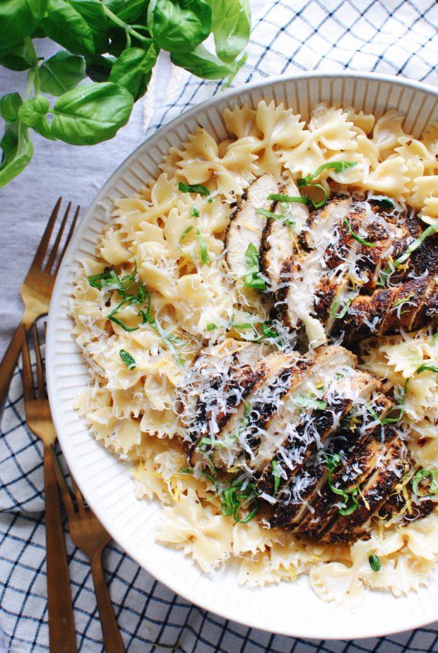 Creamy Chicken and Farfalle Pasta / Bev Cooks