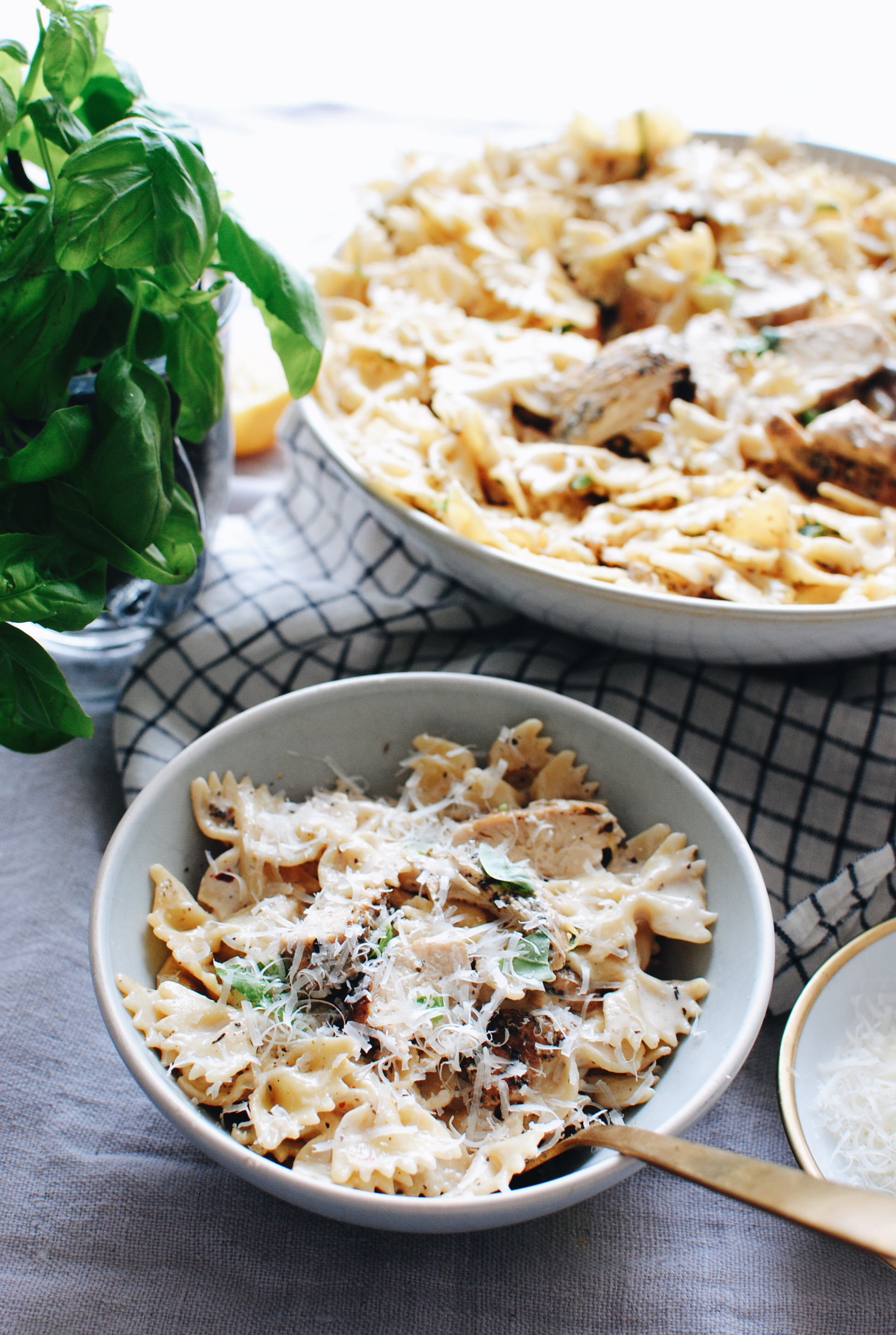 Creamy Chicken and Farfalle Pasta / Bev Cooks