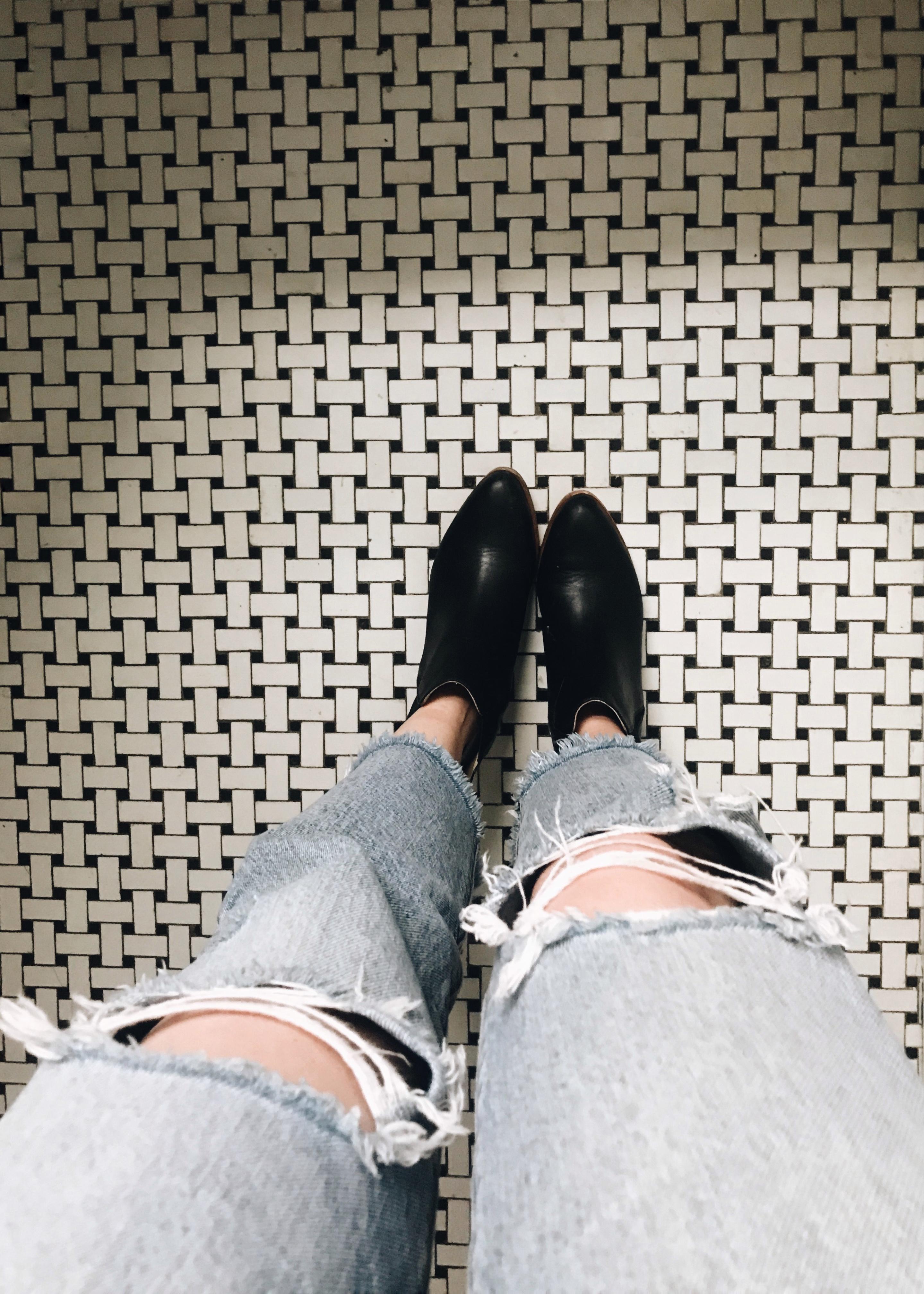 feet on tile