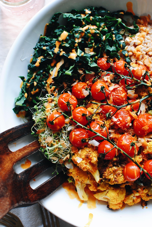 Roasted Vegetable and Farro Grain Bowl / Bev Cooks