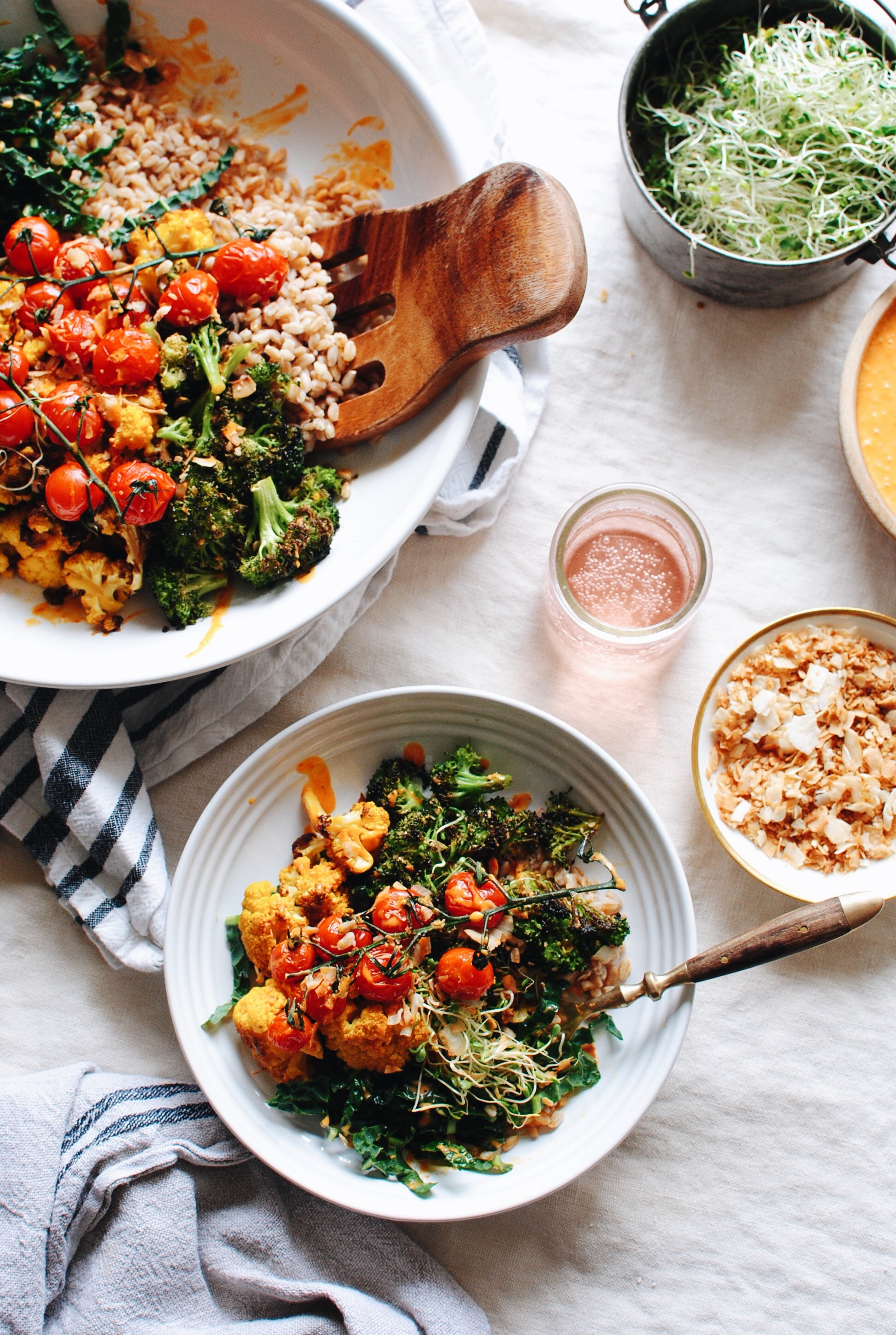 Roasted Vegetable and Farro Grain Bowl / Bev Cooks