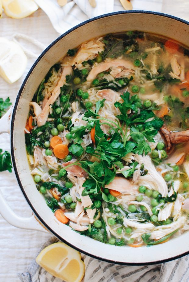 Spring Chicken and Rice Soup / Bev Cooks