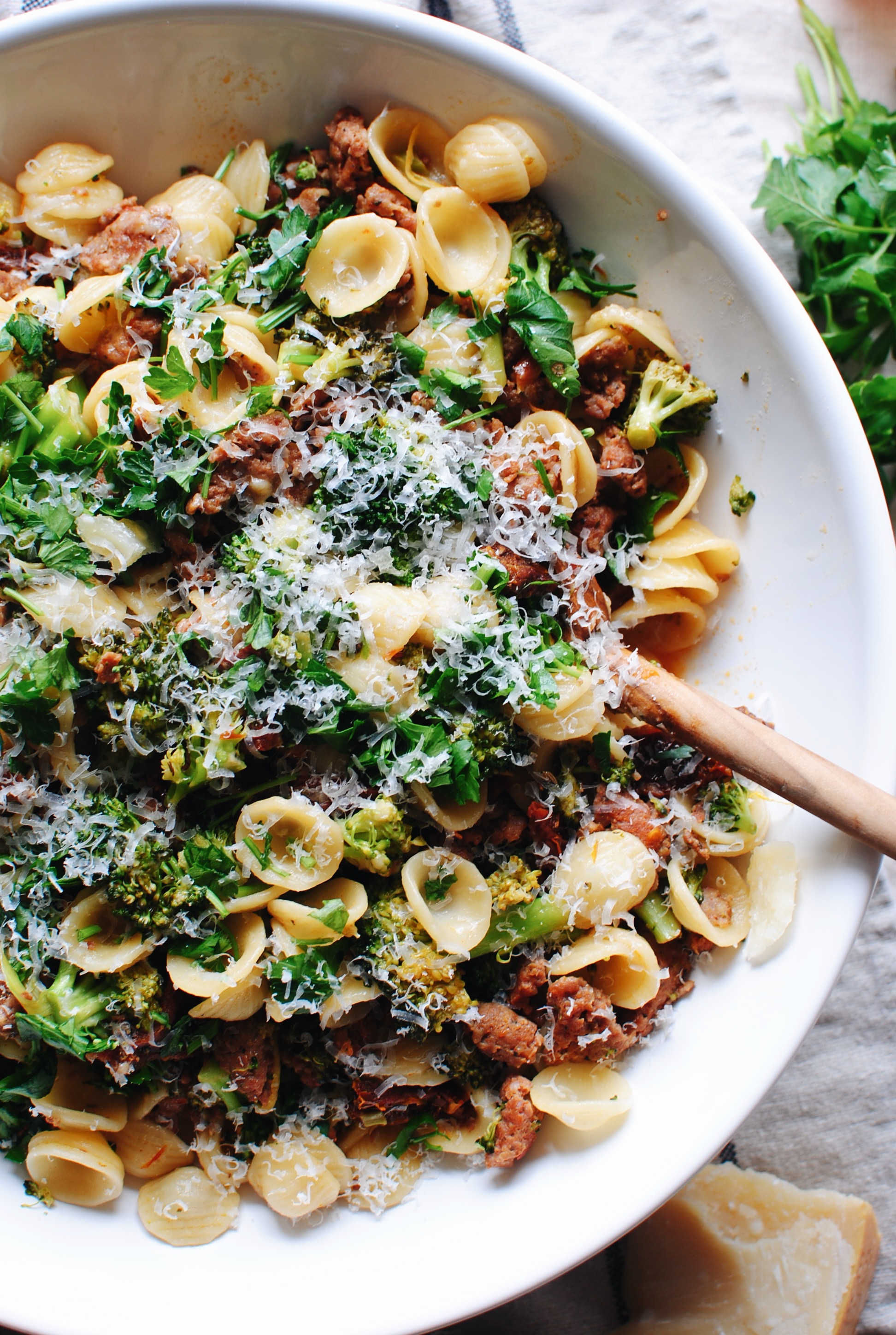 Orecchiette with Sausage, Sun-Dried Tomatoes and Broccoli / Bev Cooks