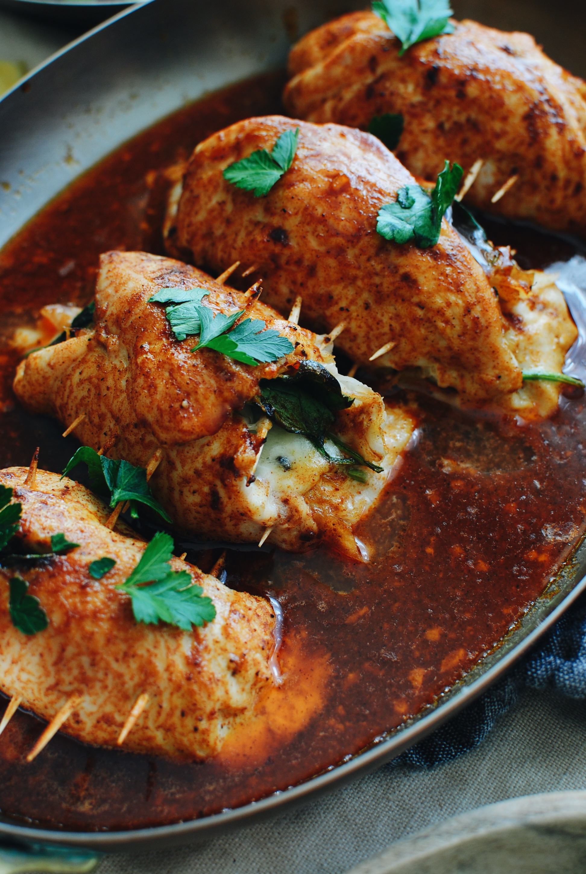 Stuffed Baked Chicken / Bev Cooks