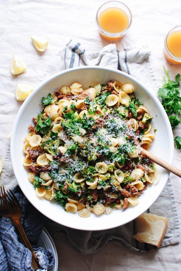Orecchiette with Sausage, Sun-Dried Tomatoes and Broccoli / Bev Cooks