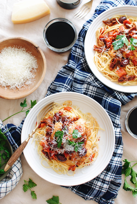 Rustic Chicken Puttanesca Spaghetti / Bev Cooks