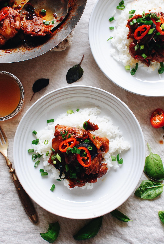 Three-Cup Thai Chicken / Bev Cooks