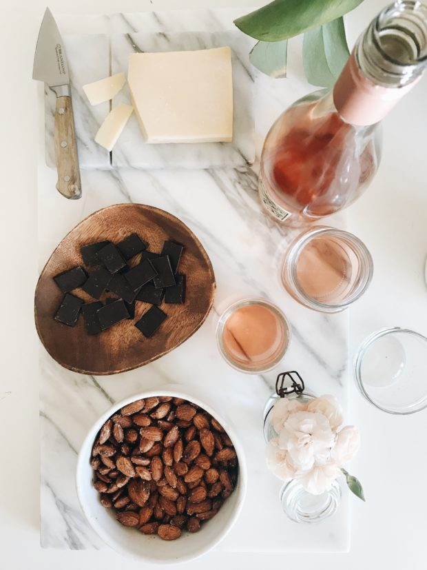 rosé, chocolate, cheese and almonds