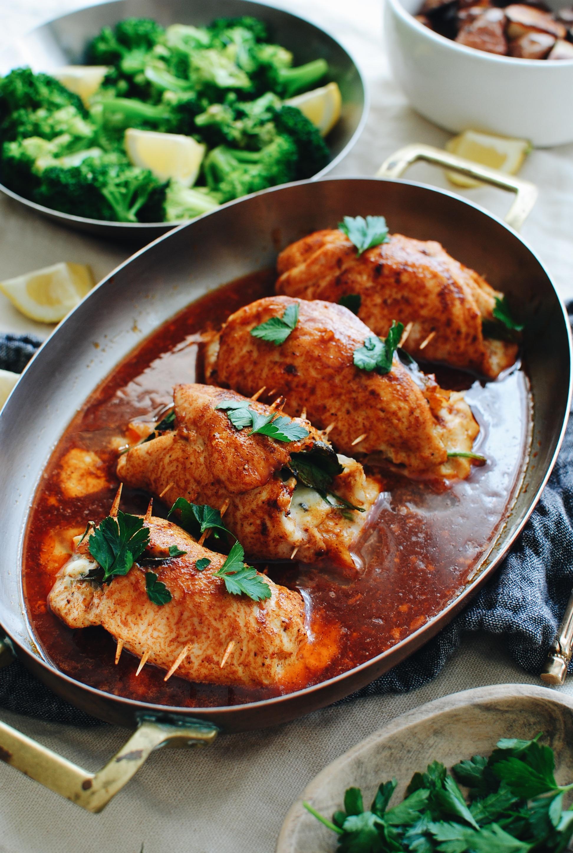 Stuffed Baked Chicken / Bev Cooks