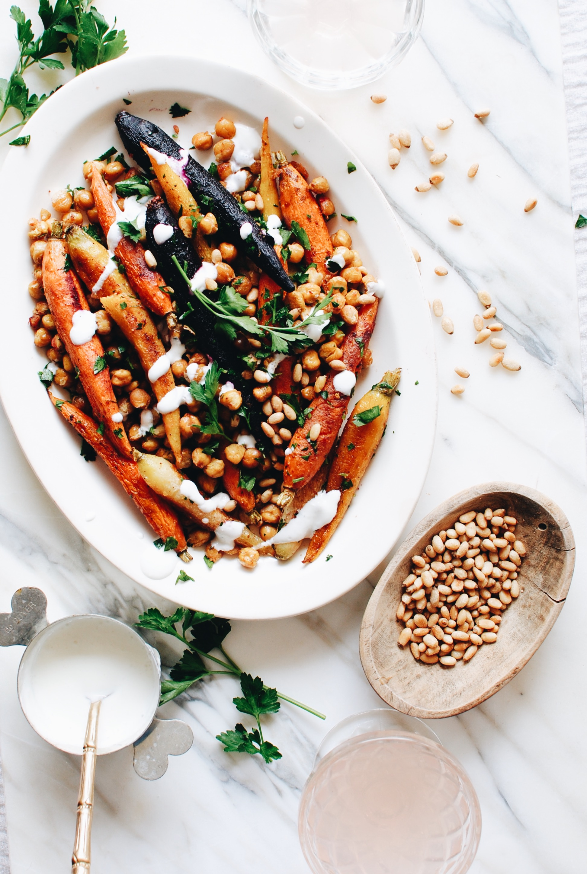 Roasted Carrots and Chickpeas / Bev Cooks