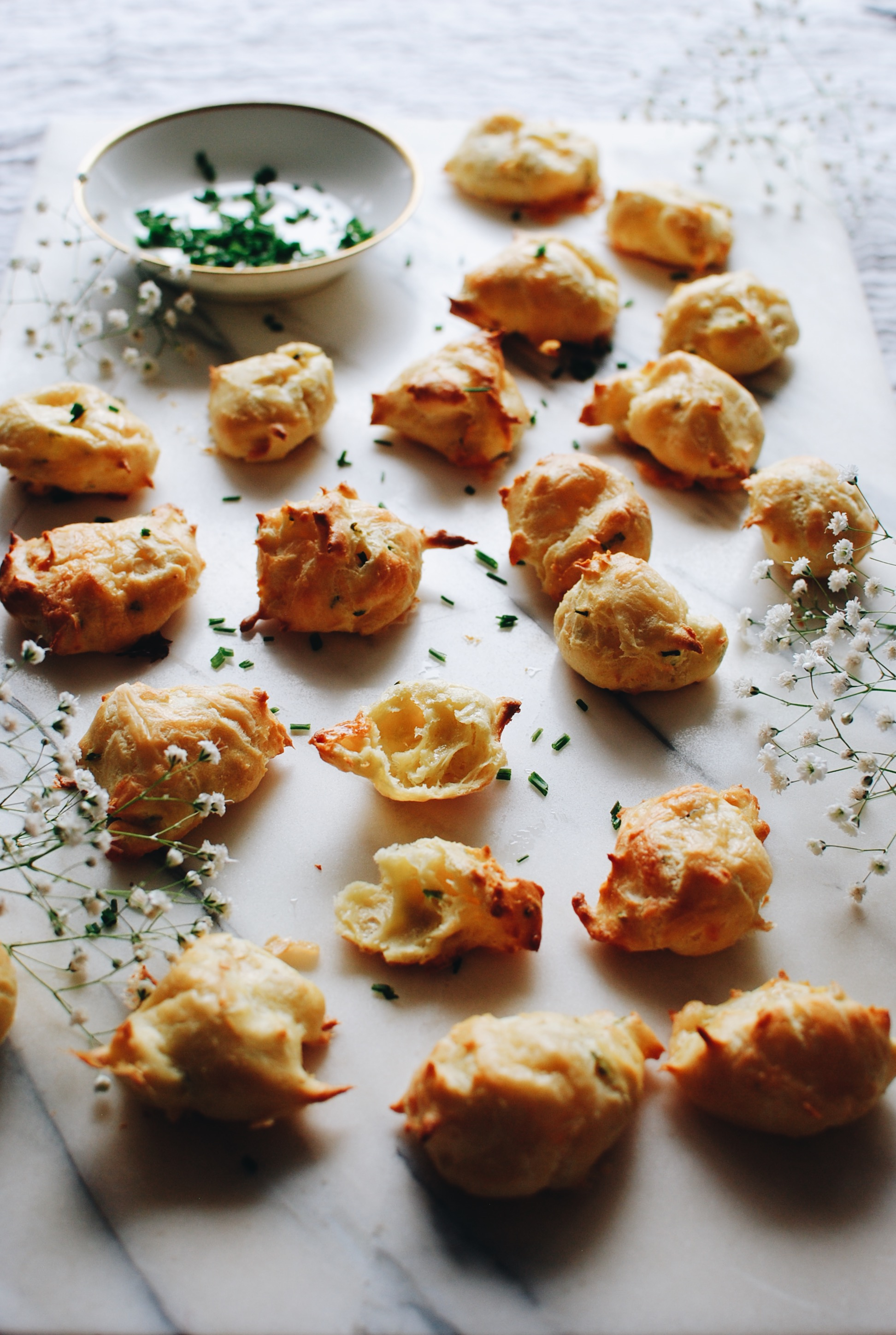 Garlic and Chive Gougères / Bev Cooks