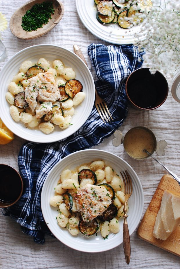 Seared Cod with Skillet Gnocchi / Bev Cooks