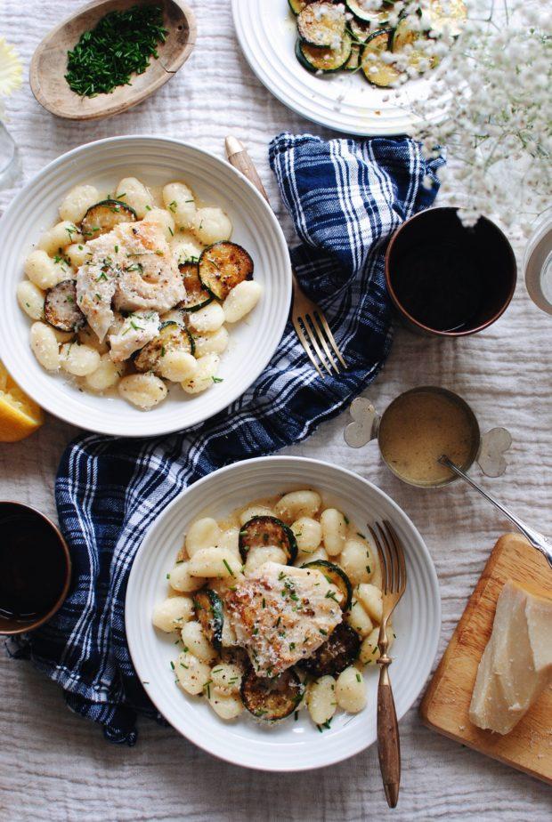 Seared Cod with Skillet Gnocchi / Bev Cooks