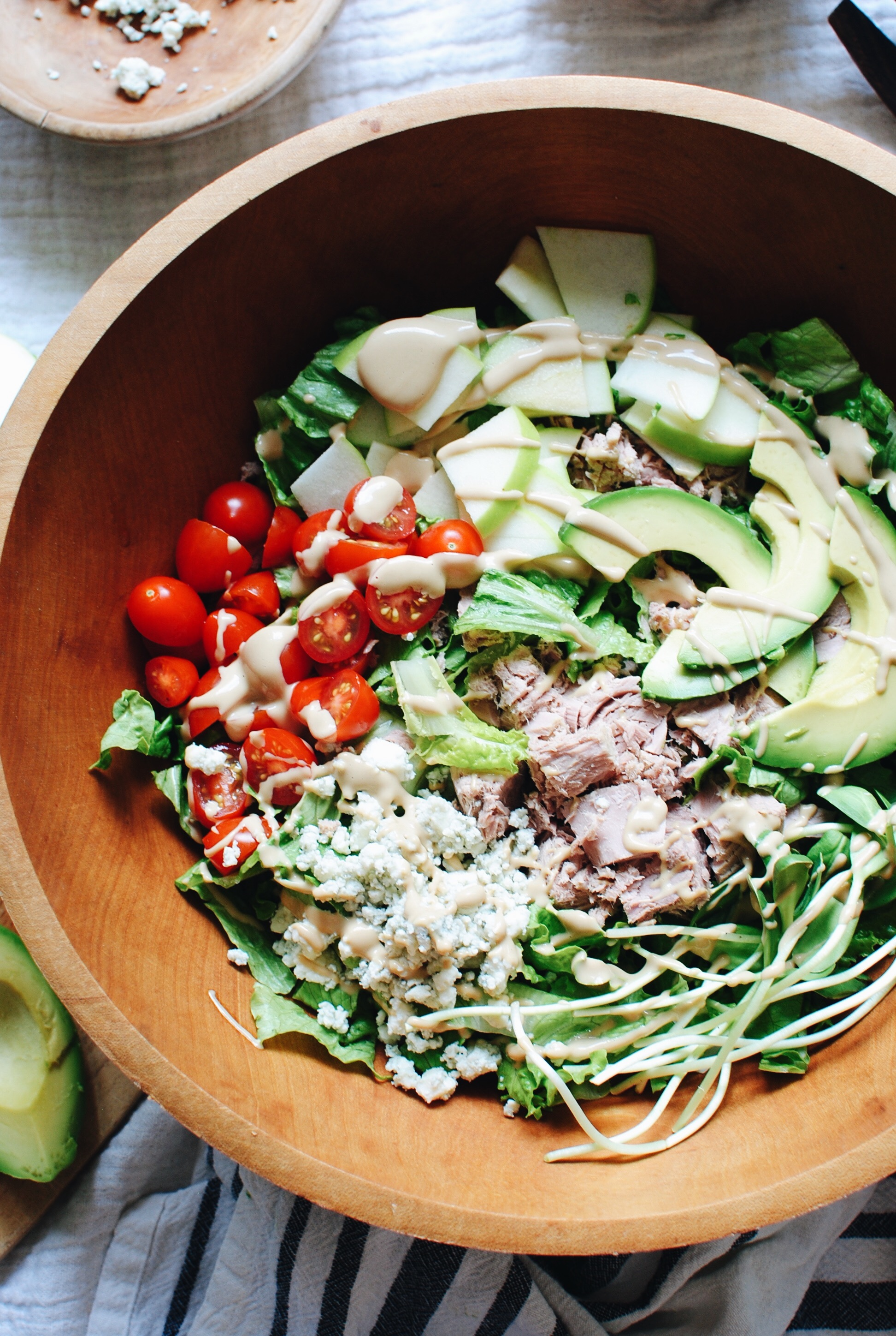 Greens Salad with Veggies, Tuna and Sunflower Butter Dressing / Bev Cooks