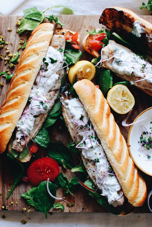 Grilled Mackerel Sandwiches / Bev Cooks
