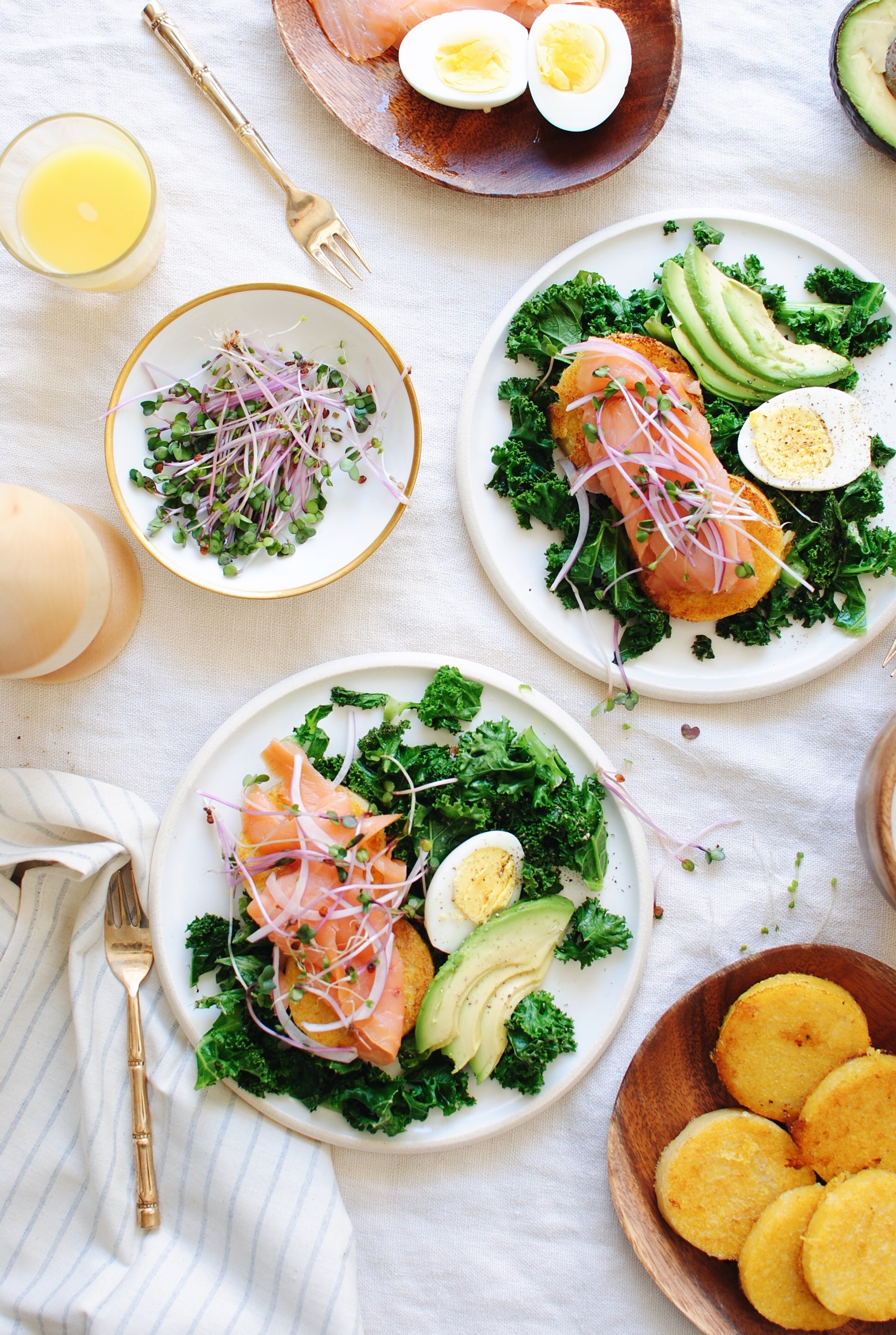 Seared Polenta with Kale and Smoked Salmon / Bev Cooks