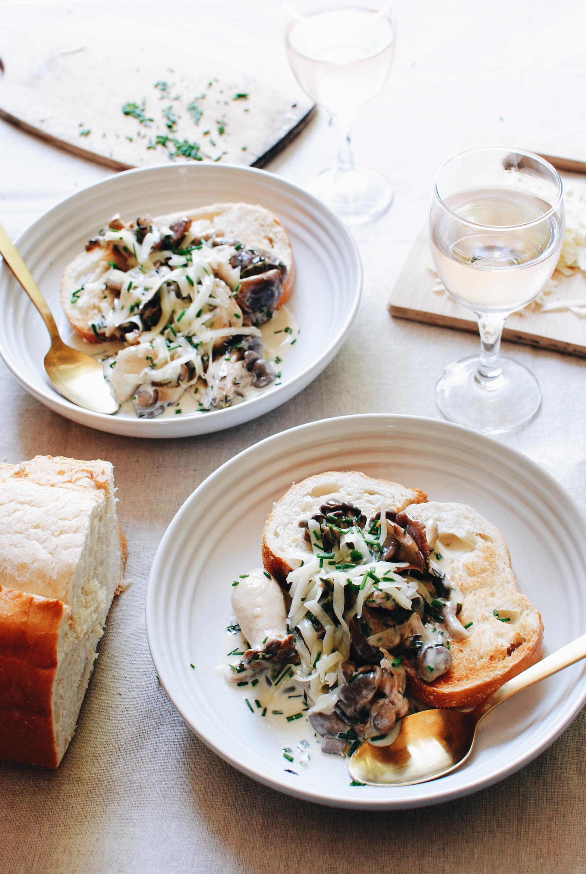 Creamy Wild Mushrooms with Crusty Bread and Cheese / Bev Cooks