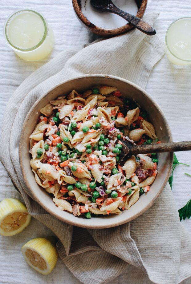 Lighter, Creamy Pasta Salad / Bev Cooks