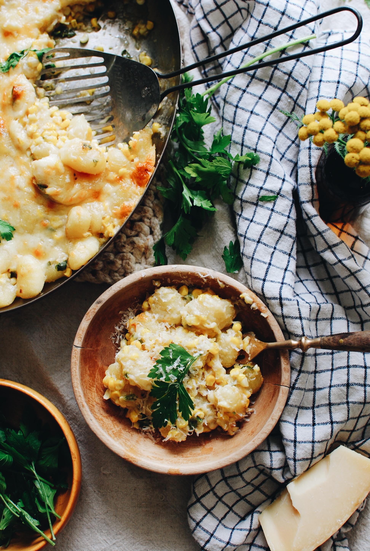 Corn and Jalapeno Gnocchi Bake / Bev Cooks