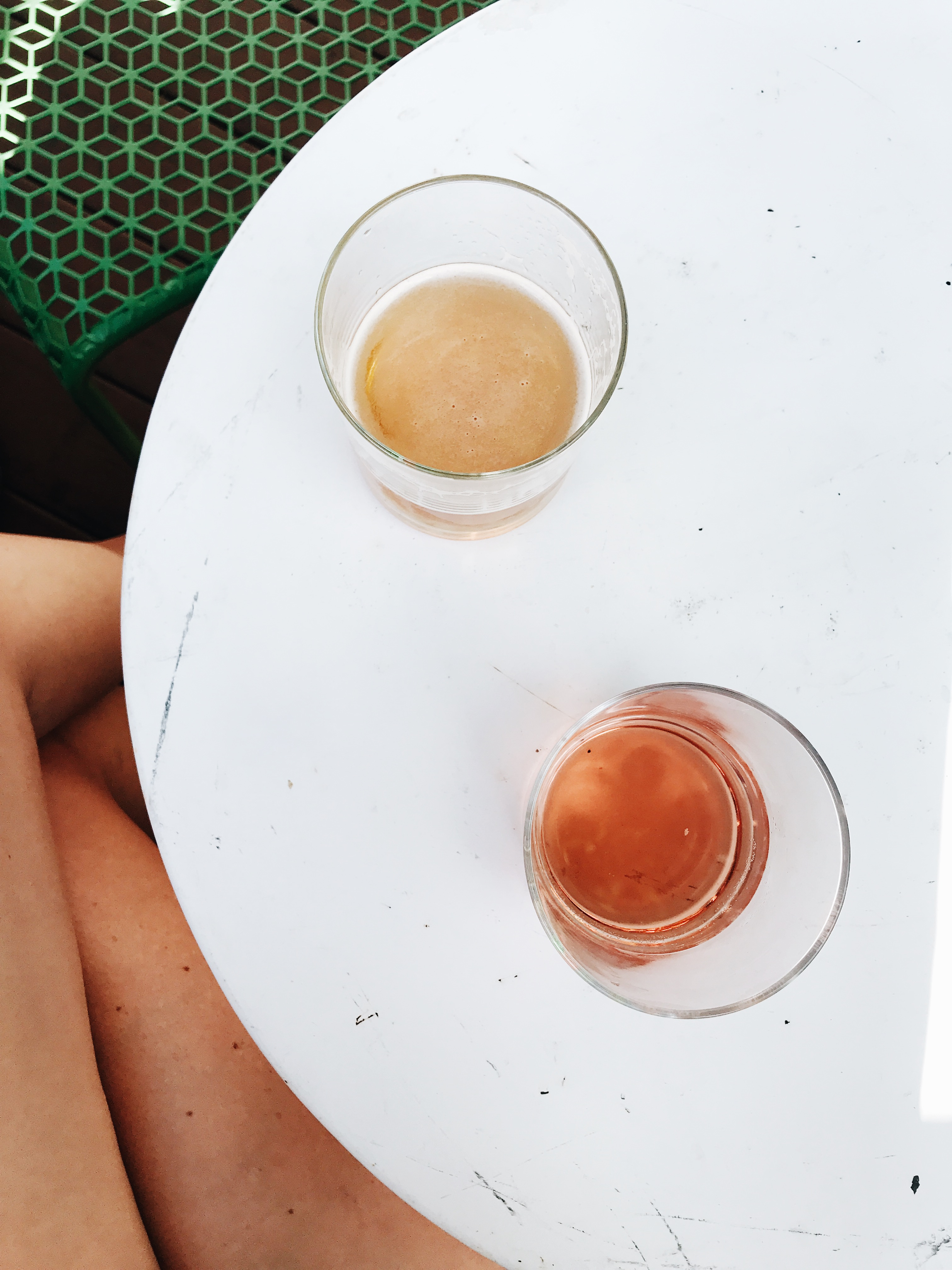 rosé and beer at Oyster Treehouse in Mystic