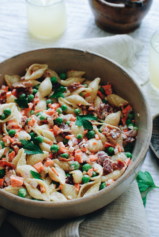 Lighter, Creamy Pasta Salad / Bev Cooks