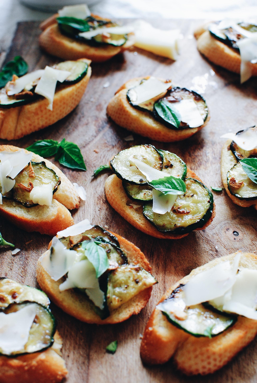 Garlicky Zucchini Cheese Crostini / Bev Cooks